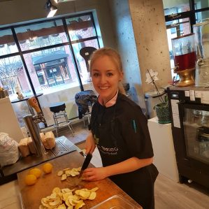 Culinary Arts student Jessica Rowat working on meal prep at Be TEAsed Restaurant in Kamloops