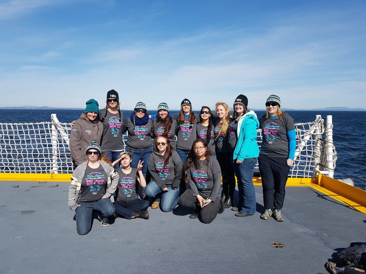 TRU Women in Trades staff and students on the HMCS Regina