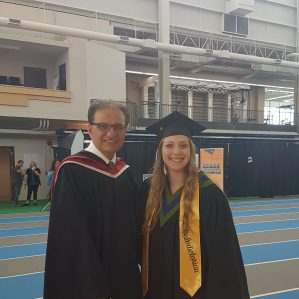 Baldev Pooni, the Dean of the School of Trades and Technology at Thompson Rivers University standing with Becca Peters, the chosen Valedictorian for the Spring 2018 Graduation ceremony
